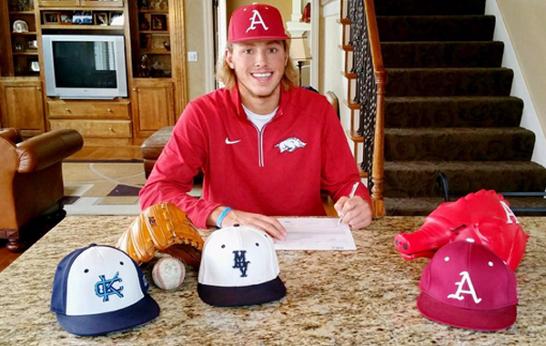 Lucas Krull, a left-handed pitcher from Kansas, signed with Arkansas during the early signing period.