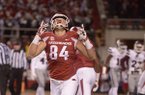 Arkansas tight end Hunter Henry celebrates after scoring a touchdown during the third quarter of a game against Mississippi State on Saturday, Nov. 21, 2015, at Razorback Stadium in Fayetteville.