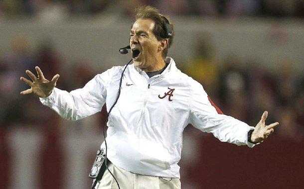 Alabama head coach Nick Saban reacts to a play during the second half of an NCAA football game against Charleston Southern, Saturday, Nov. 21, 2015, in Tuscaloosa, Ala. Alabama won 56-6. (AP Photo/Butch Dill)
