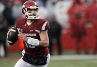 Arkansas' Brandon Allen (10) looks for an open receiver during the first half of an NCAA college football game against Missouri, Friday, Nov. 27, 2015, in Fayetteville. (AP Photo/Samantha Baker)