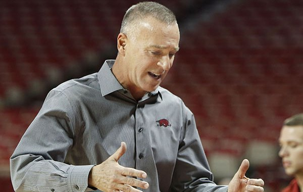 Arkansas coach Jimmy Dykes reacts to a play during a game against Tulsa on Monday, Nov. 23, 2015, at Bud Walton Arena in Fayetteville.