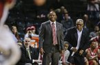 Arkansas head coach Mike Anderson reacts during the first half of an NCAA college basketball game against Stanford in the consolation round of the NIT Season Tip-Off tournament Friday, Nov. 27, 2015, in New York. (AP Photo/Frank Franklin II)