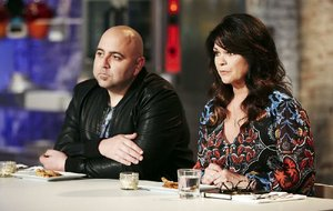 "Hosts Duff Goldman and Valerie Bertinelli work during the challenge segment ""Pie A La Mode"" on Food Network's Kids Baking Championship, Season 2."