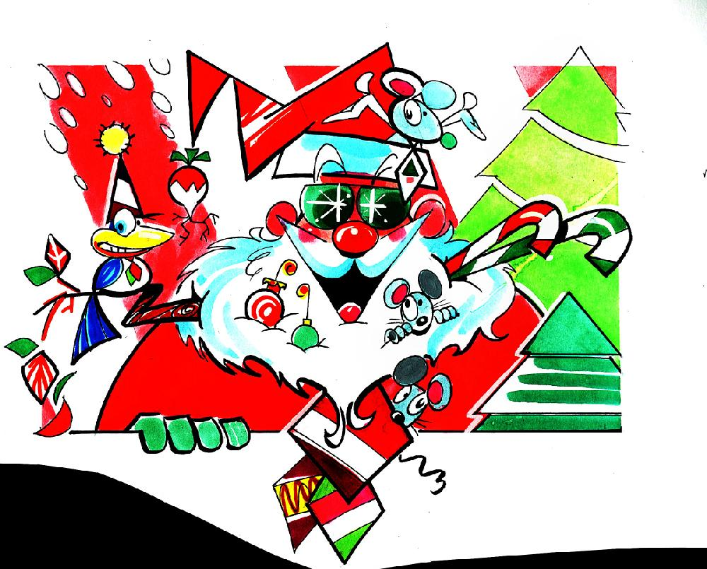 Arkansas Democrat-Gazette illustration of Santa in sun glasses.