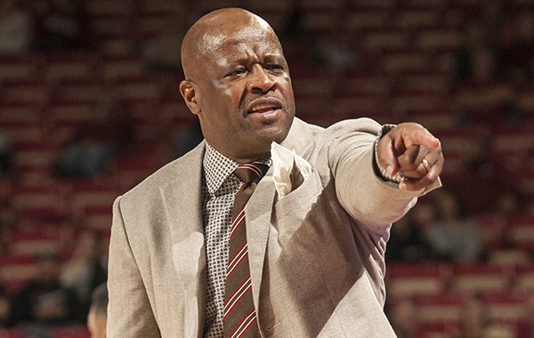 Mike Anderson Arkansas head coach calls to his bench against Evansville in the first half Tuesday, Dec. 8, 2015, at Bud Walton Arena in Fayetteville.