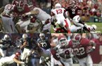 Alabama running back Derrick Henry (top left) is trying to join Texas A&M quarterback Johnny Manziel (top right), Auburn quarterback Cam Newton (bottom left) and Alabama running back Mark Ingram Jr. (bottom right) as recent players to win the Heisman Trophy after playing Arkansas during the season. (file photos)