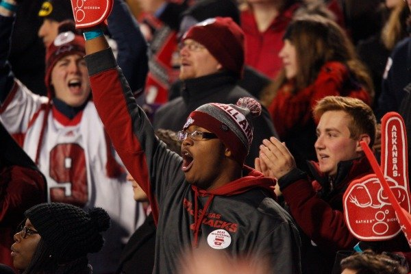 Arkansas fans cheer during the Razorbacks' game against Mississippi State on Saturday, Nov. 21, 2015, at Razorback Stadium in Fayetteville.