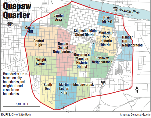 Little Rock Map Little Rock's Quapaw Quarter out to define itself
