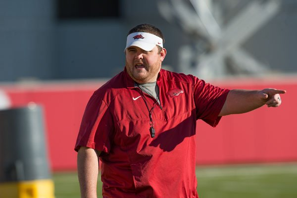 UA grad assistant Eric Mateos is acting as the offensive line coach for the Razorbacks in the upcoming Liberty Bowl. (photo courtesy UA Athletics/Walt Beazley)