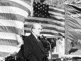 The Sentinel-Record/File photo GOODBYE, SENATOR: U.S. Sen. Dale Bumpers speaks at a ceremony honoring the nation's veterans on Veterans Day at Greenwood Cemetery in 1995.