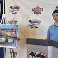 Justin Cole, Naturals general manager, unveils an artist rendering Thursday of a the new high-defini...
