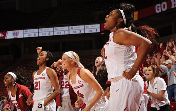 Arkansas players celebrate against Tennessee on Thursday, Jan. 14, 2016, during the second half in Bud Walton Arena in Fayetteville.