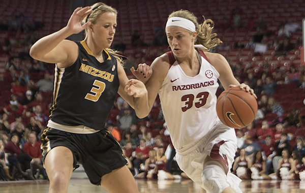 Arkansas' Melissa Wolff (33) drives against Missouri's Sophie Cunningham (3) during a game Sunday, Jan. 17, 2016, at Bud Walton Arena in Fayetteville.