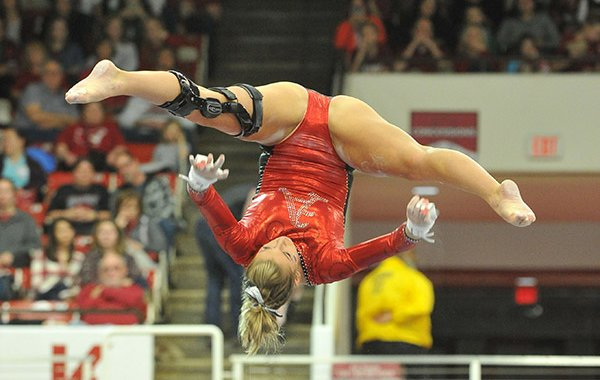 Arkansas' Braie Speed competes during a meet against Auburn on Friday, Jan. 29, 2016, at Barnhill Arena in Fayetteville.