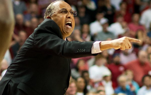 Texas Tech head coach Tubby Smith directs his players in the second half of an NCAA college basketball game against Arkansas in Fayetteville, Ark., Saturday, Jan. 30, 2016. Arkansas won 75-68. (AP Photo/Sarah Bentham)