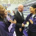 Matthew Wendt (left), new superintendent of the Fayetteville School District, speaks with DaShundra ...