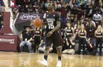 Mississippi State guard I.J. Ready (15) dribbles the ball downcourt during the first half of an NCAA college basketball game against Alabama in Starkville, Miss., Tuesday, Feb. 2, 2016. Alabama won in overtime 82-80. (AP Photo/Jim Lytle)