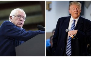 Presidential candidates, from left, Sen. Bernie Sanders and Donald Trump.