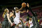 Arkansas' Malica Monk (3) goes up for a shot during a game against Vanderbilt on Monday, Feb. 8, 2016, at Bud Walton Arena in Fayetteville.