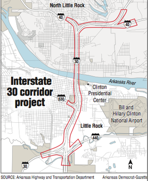 Map showing the location of the Interstate 30 corridor project.