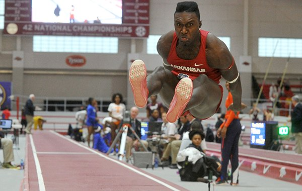 Arkansas' Clive Pullen competes in the finals of the triple jump competition during the SEC Indoor Championships on Saturday, Feb. 27, 2016, at Randal Tyson Track Center in Fayetteville.