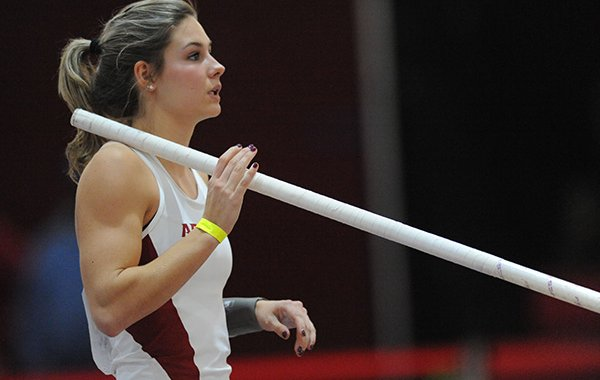 Lexi Weeks of Arkansas competes in the pole vault Friday, Jan. 15, 2016, during the Arkansas Invitational at the Randal Tyson Track Center.