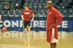 Arkansas coach Mike Anderson watches practice Wednesday, March 9, 2016, at Bridgestone Arena in Nashville, Tenn.