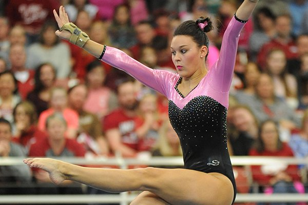 Arkansas' Sydnie Dillard competes Friday, Feb. 26, 2016, in the floor portion of the Razorbacks' meet with Kentucky in Barnhill Arena in Fayetteville.