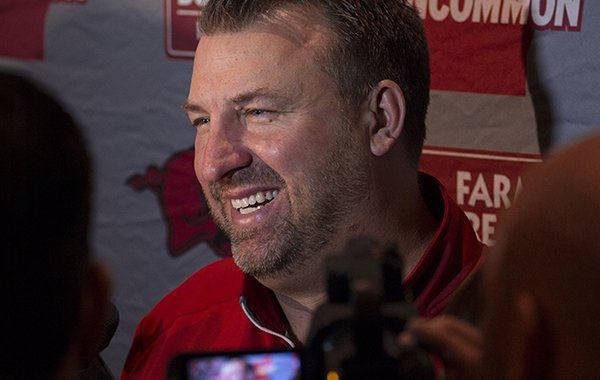 Arkansas coach Bret Bielema speaks to reporters on Monday, Dec. 28, 2015, at the Peabody Hotel in Memphis, Tenn.