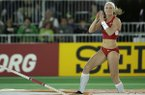 United States' Sandi Morris reacts after a jump in the women's pole vault finals, Thursday, March 17, 2016, at the World Indoor Athletics Championships in Portland, Ore. (AP Photo/Elaine Thompson)