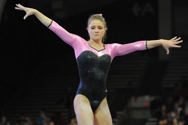 Arkansas' Amanda Wellick competes Friday, Feb. 26, 2016, in the beam portion of the Razorbacks' meet with Kentucky in Barnhill Arena in Fayetteville.
