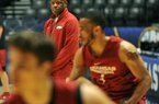 NWA Democrat-Gazette/MICHAEL WOODS • @NWAMICHAELW University of Arkansas coach Mike Anderson works with his team during practice Wednesday, March 9, 2016 at Bridgestone Arena in Nashville as the Razorbacks prepare for the first game of the SEC basketball tournament in Nashville.