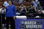 Duke head coach Mike Krzyzewski watches during a college basketball practice in Anaheim, Calif., Wednesday, March 23, 2016. Duke plays against Oregon in a regional semifinal game in the NCAA Tournament on Thursday. (AP Photo/Chris Carlson)
