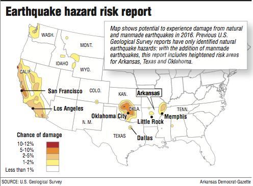 Bigquake Odds In Arkansas Area In US Says - Arkansas on us map