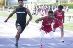 News-Times/Faith Lightsy Smackover's Jordan Jones (left) participates in the 100-meter dash as he narrowly outpaces Texarkana's Timothy Stuckey (middle) during the annual El Dorado Oil Belt Relays Thursday at Memorial Stadium.