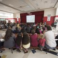 Gary Compton, Springdale assistant superintendent for support services, talks to parents and studen...