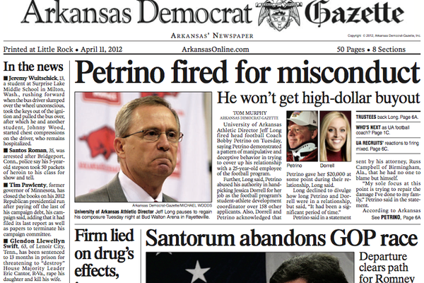Front page of the Arkansas Democrat-Gazette on April 11, 2016