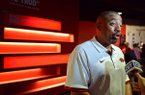 Arkansas linebackers coach Vernon Hargreaves talks to reporters during the team's media day Sunday, Aug. 9, 2015, at the Fred W. Smith Center in Fayetteville.