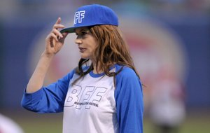 Geena Davis at the first A League of Their Own Reunion Ballgame