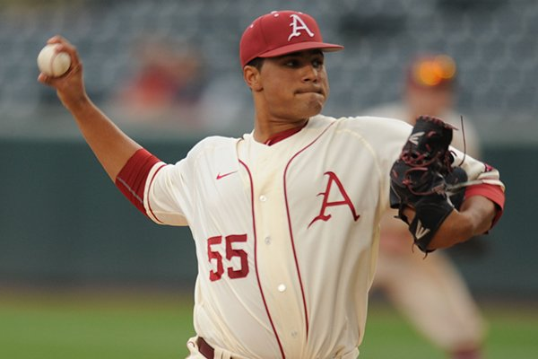Arkansas starter Isaiah Campbell delivers against Creighton Tuesday, April 19, 2016, during the second inning at Baum Stadium in Fayetteville.