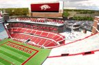 An artist's rendering shows what a proposed expansion to Donald W. Reynolds Razorback Stadium in Fayetteville might look like. The UA athletics department estimates the project would add about 4,800 seats and cost $160 million.