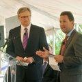 Steve Goss, Mercy Clinic president, and Eric Pianalto, Mercy Hospital president, speak Wednesday dur...