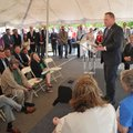 Rogers Mayor Greg Hines speaks Wednesday during a news conference to announce Mercy Northwest Arkans...