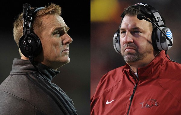 Arkansas State coach Blake Anderson, left, and Arkansas coach Bret Bielema will be coaches at a camp at War Memorial Stadium on Sunday, June 5.