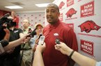 Arkansas assistant coach Scotty Thurman speaks to the media during a news conference Thursday, May 12, 2016, at Bud Walton Arena in Fayetteville.