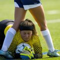 Madison Winter, North Little Rock keeper, makes a stop on the ball Thursday against Har-Ber at Sprin...