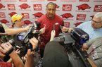 Arkansas assistant coach Scotty Thurman speaks to reporters Thursday, May 12, 2016, at Bud Walton Arena in Fayetteville.