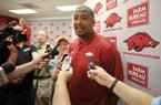 NWA Democrat-Gazette/DAVID GOTTSCHALK  Scotty Thurman discusses his promotion to assistant basketball coach for the University of Arkansas Razorback basketball team Thursday, May 12, 2016, at Bud Walton Arena on the campus in Fayetteville.