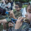Ana Reyes, 9, chows down on s'mores.