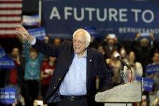 Bernie Sanders greets ...